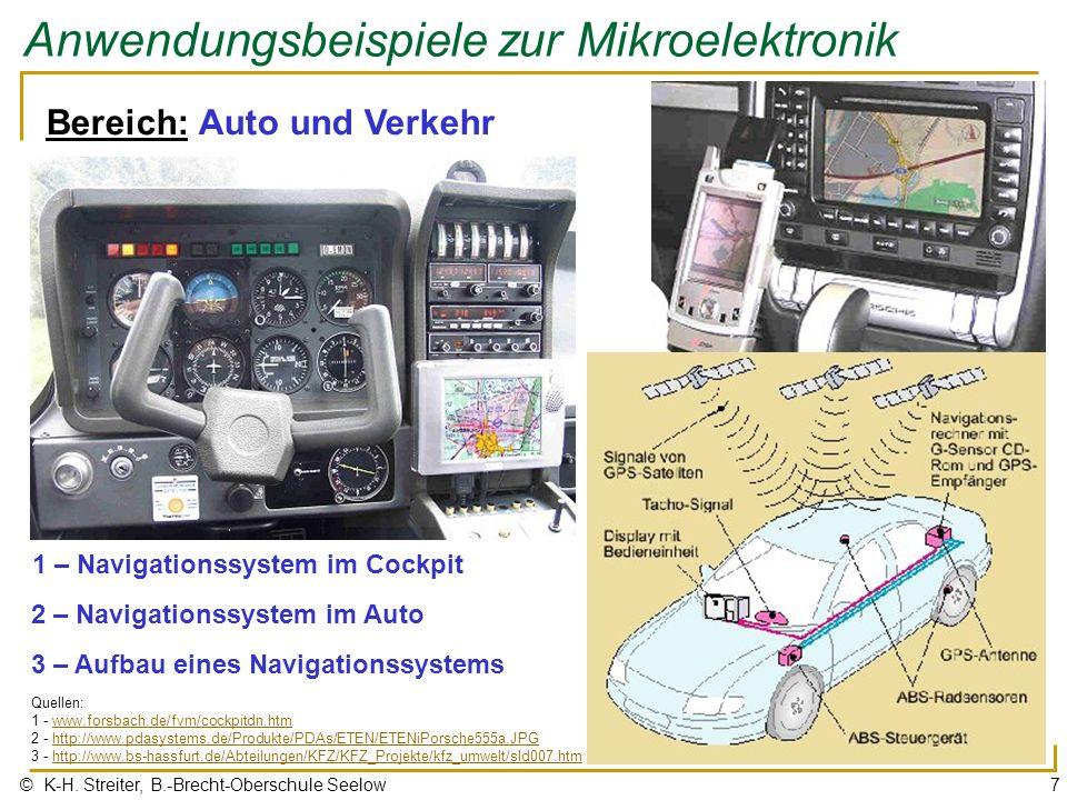 © K-H. Streiter, B.-Brecht-Oberschule Seelow7 Anwendungsbeispiele zur Mikroelektronik Bereich: Auto und Verkehr 1 – Navigationssystem im Cockpit 2 – N