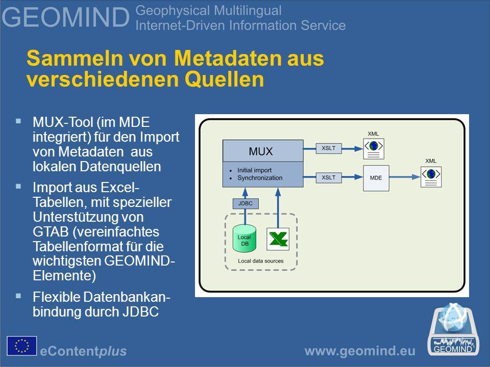 Sammeln von Metadaten aus verschiedenen Quellen MUX-Tool (im MDE integriert) für den Import von Metadaten aus lokalen Datenquellen Import aus Excel- Tabellen, mit spezieller Unterstützung von GTAB (vereinfachtes Tabellenformat für die wichtigsten GEOMIND- Elemente) Flexible Datenbankan- bindung durch JDBC