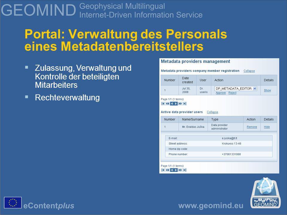 Portal: Verwaltung des Personals eines Metadatenbereitstellers Zulassung, Verwaltung und Kontrolle der beteiligten Mitarbeiters Rechteverwaltung