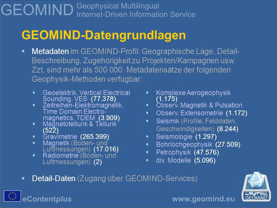 GEOMIND-Datengrundlagen Geoelektrik, Vertical Electrical Sounding, VES (77.378) Zeitreihen-Elektromagnetik, Time Domain Electro- magnetics, TDEM (3.909) Magnetotellurik & Tellurik (522) Gravimetrie (265.399) Magnetik (Boden- und Luftmessungen) (17.016) Radiometrie (Boden- und Luftmessungen) (2) Komplexe Aerogeophysik (1.175) Observ.