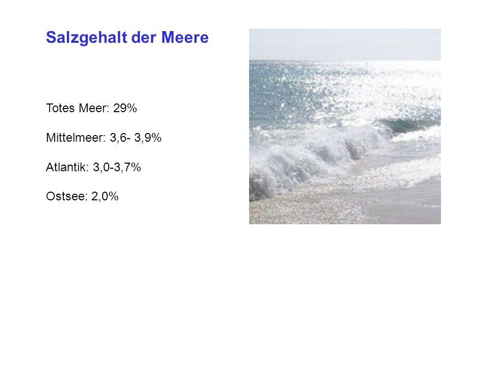Salzgehalt der Meere Totes Meer: 29% Mittelmeer: 3,6- 3,9% Atlantik: 3,0-3,7% Ostsee: 2,0%
