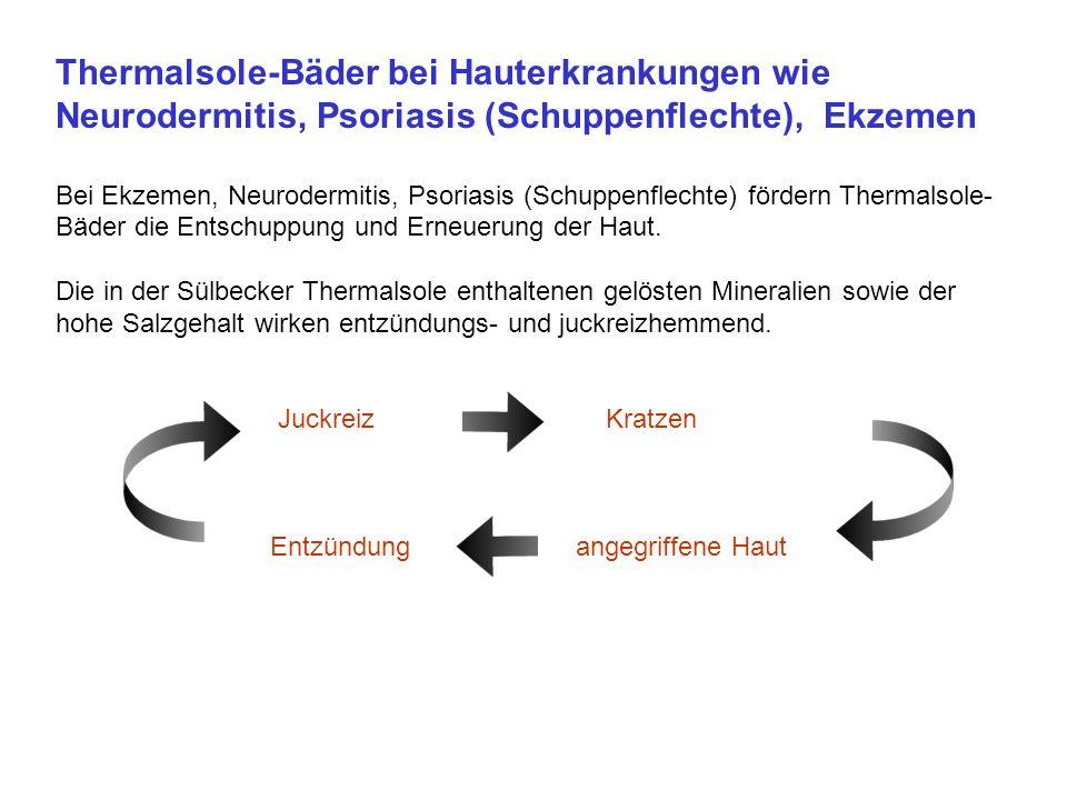 Thermalsole-Bäder bei Hauterkrankungen wie Neurodermitis, Psoriasis (Schuppenflechte), Ekzemen Bei Ekzemen, Neurodermitis, Psoriasis (Schuppenflechte) fördern Thermalsole- Bäder die Entschuppung und Erneuerung der Haut.