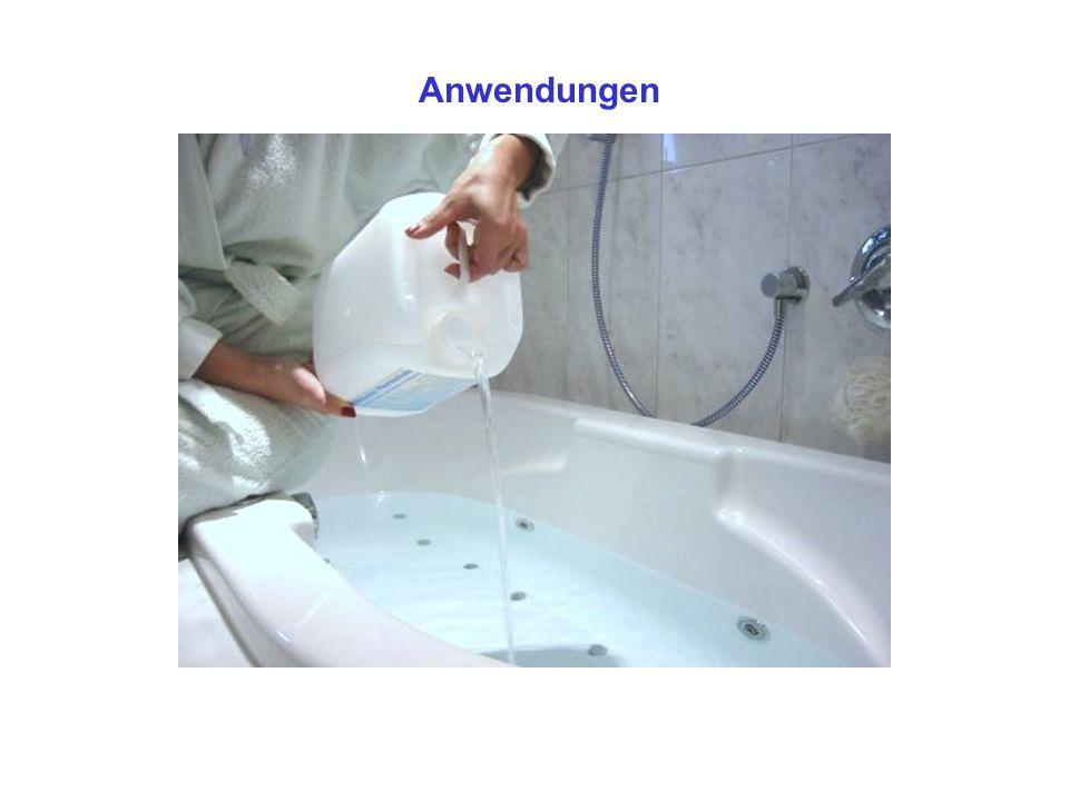 Anwendungsempfehlungen Allgemeine Anwendung Zunächst etwa 70 Liter heisses Wasser in die Badewanne fließen lassen.