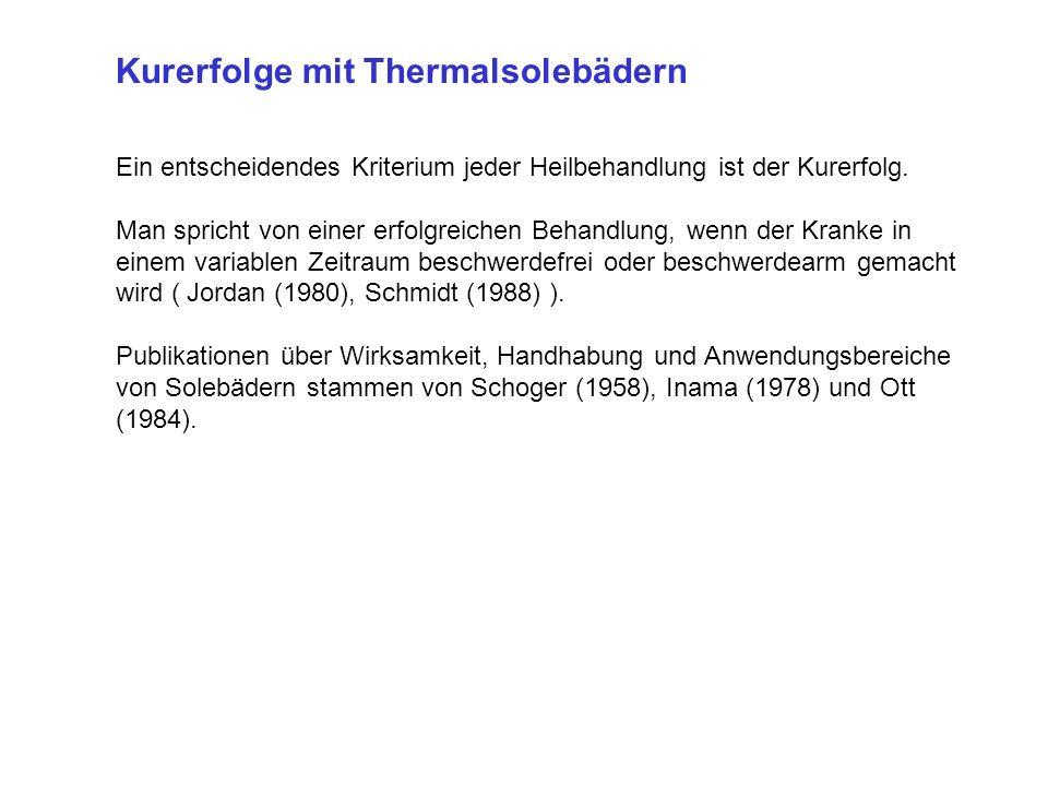 Kurerfolge mit Thermalsolebädern Ein entscheidendes Kriterium jeder Heilbehandlung ist der Kurerfolg.