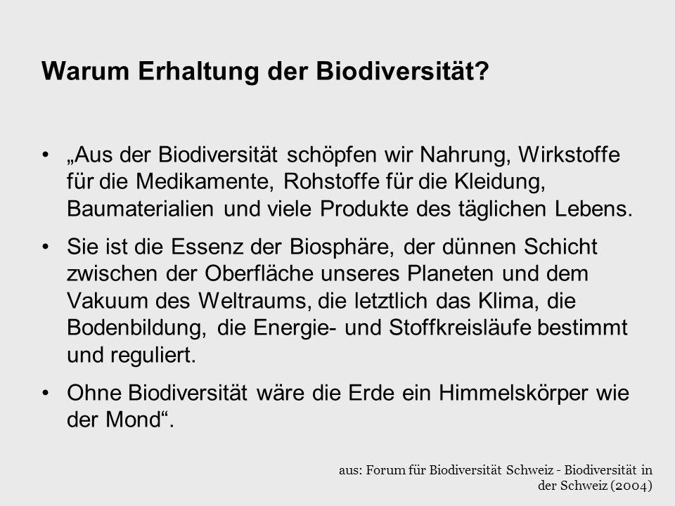 Warum Erhaltung der Biodiversität? Aus der Biodiversität schöpfen wir Nahrung, Wirkstoffe für die Medikamente, Rohstoffe für die Kleidung, Baumaterial