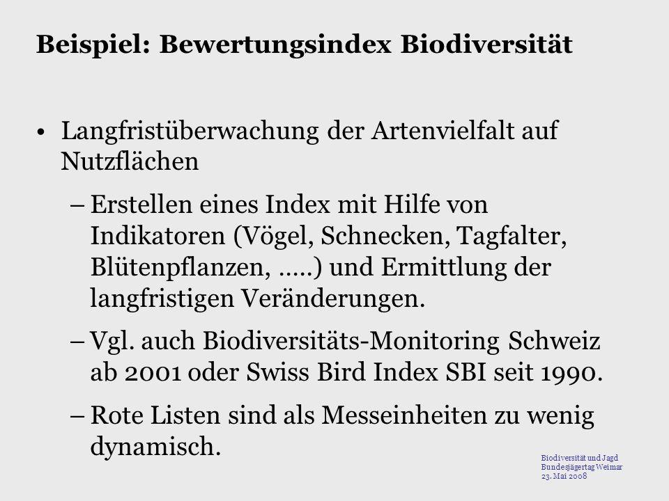 Beispiel: Bewertungsindex Biodiversität Langfristüberwachung der Artenvielfalt auf Nutzflächen –Erstellen eines Index mit Hilfe von Indikatoren (Vögel