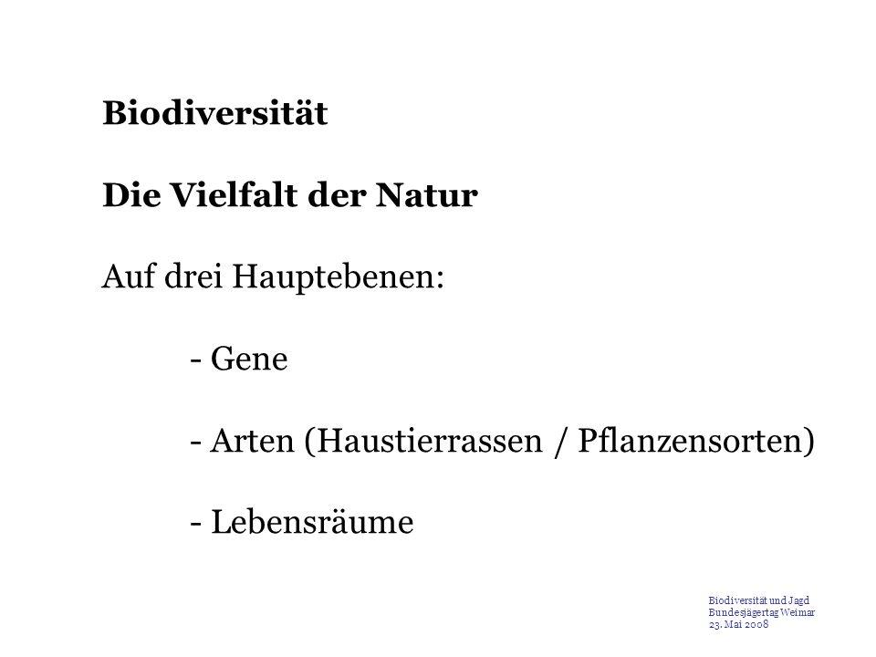 Biodiversität Die Vielfalt der Natur Auf drei Hauptebenen: - Gene - Arten (Haustierrassen / Pflanzensorten) - Lebensräume Biodiversität und Jagd Bunde