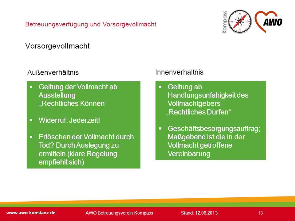 Betreuungsverfügung und Vorsorgevollmacht www.awo-konstanz.de 13 Vorsorgevollmacht Geltung der Vollmacht ab Ausstellung Rechtliches Können Widerruf: J