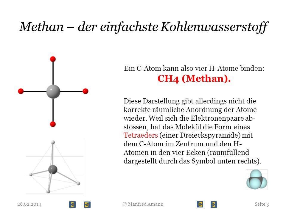 Methan – der einfachste Kohlenwasserstoff 26.02.2014Seite 3© Manfred Amann Ein C-Atom kann also vier H-Atome binden: CH4 (Methan). Diese Darstellung g