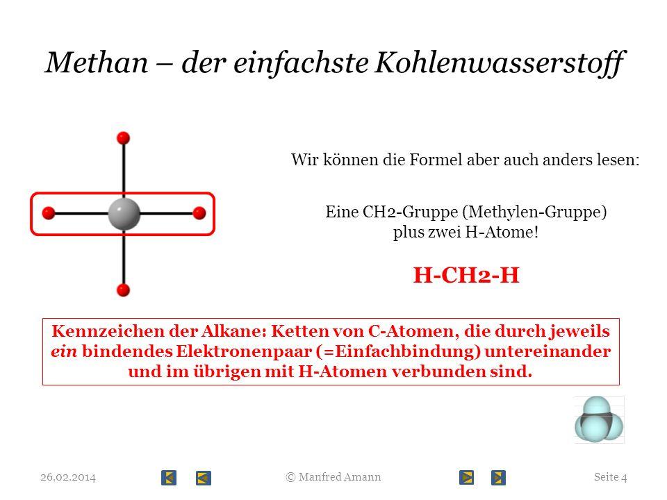 Wir verlängern die Kohlenstoffkette … 26.02.2014Seite 5© Manfred Amann Formal kann man sich das als Einfügen einer CH2-Gruppe (Methylen-Gruppe) vorstellen.