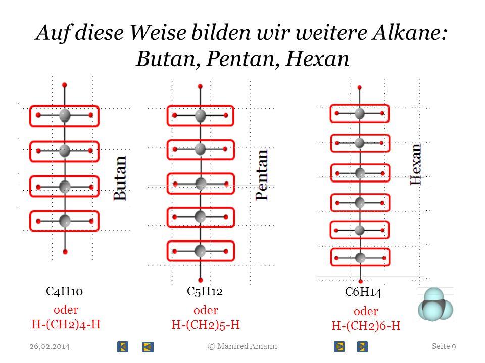 Auf diese Weise bilden wir weitere Alkane: Butan, Pentan, Hexan 26.02.2014Seite 9© Manfred Amann C4H10C5H12 C6H14 oder H-(CH2)4-H oder H-(CH2)5-H oder