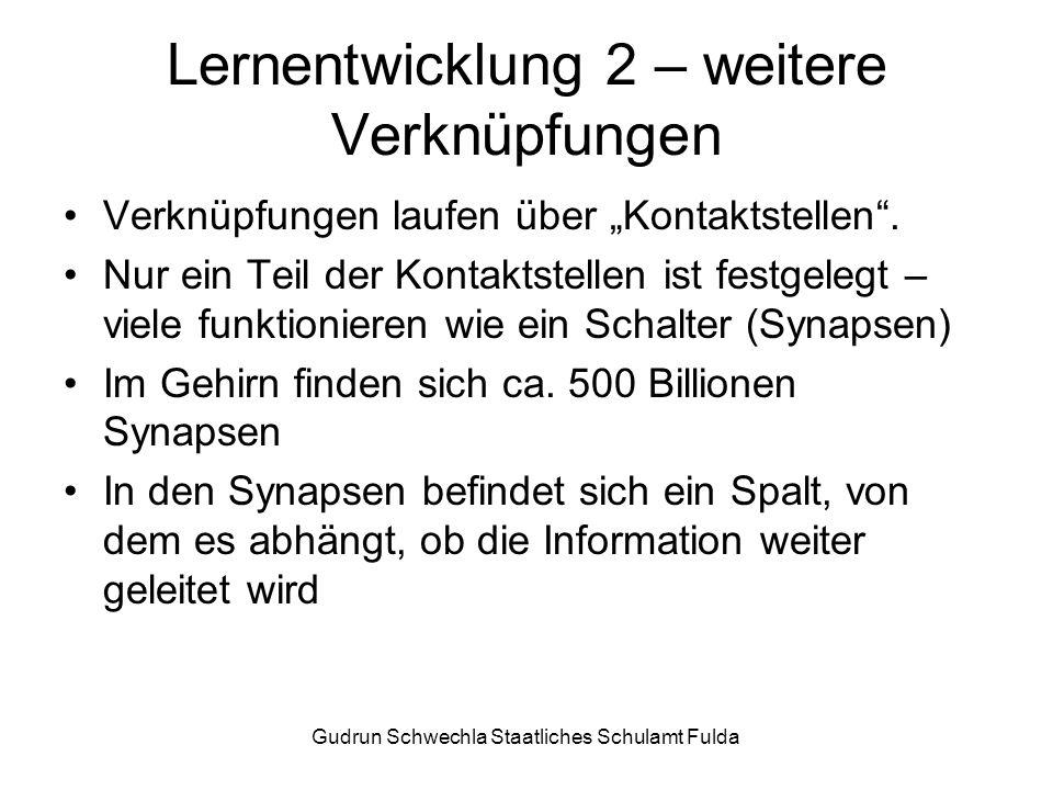 Gudrun Schwechla Staatliches Schulamt Fulda Lernentwicklung 2 – weitere Verknüpfungen Verknüpfungen laufen über Kontaktstellen.
