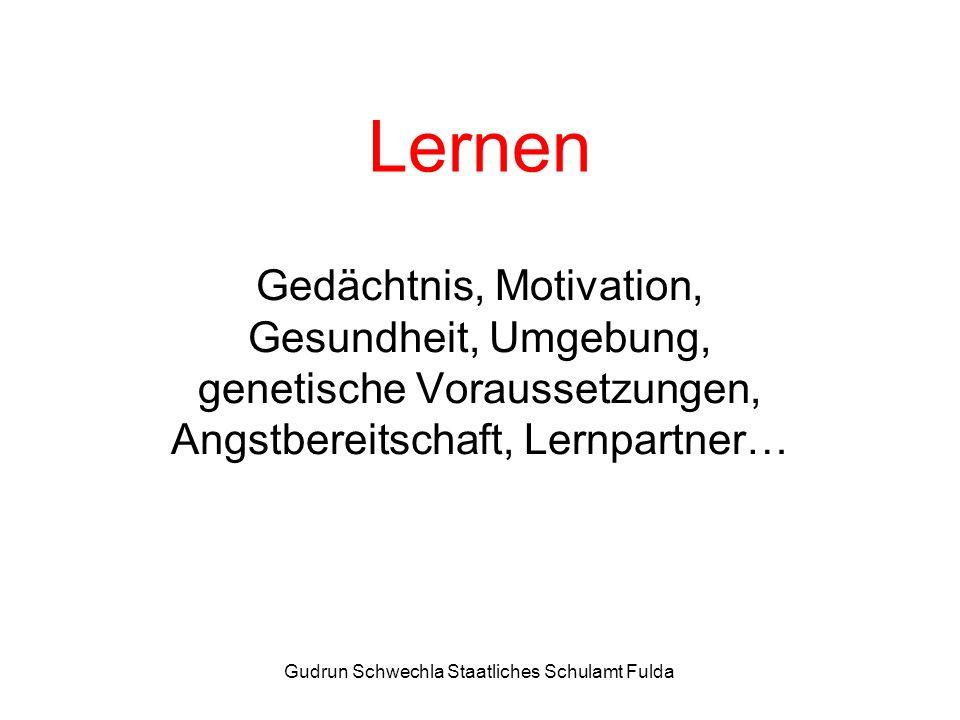 Gudrun Schwechla Staatliches Schulamt Fulda Lernen Gedächtnis, Motivation, Gesundheit, Umgebung, genetische Voraussetzungen, Angstbereitschaft, Lernpartner…
