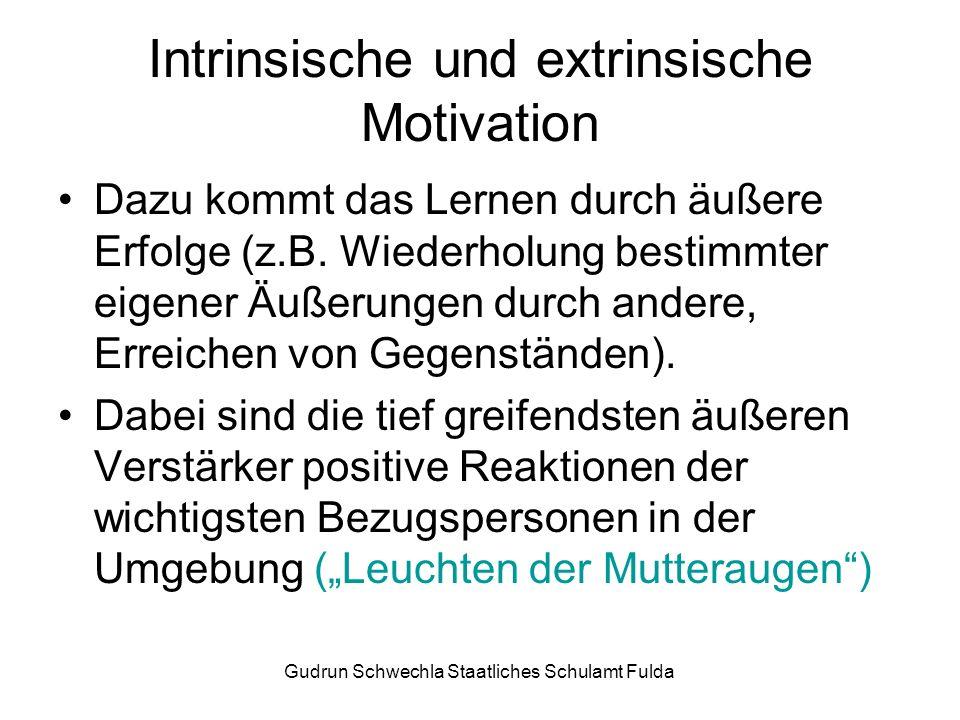 Gudrun Schwechla Staatliches Schulamt Fulda Intrinsische und extrinsische Motivation Dazu kommt das Lernen durch äußere Erfolge (z.B.
