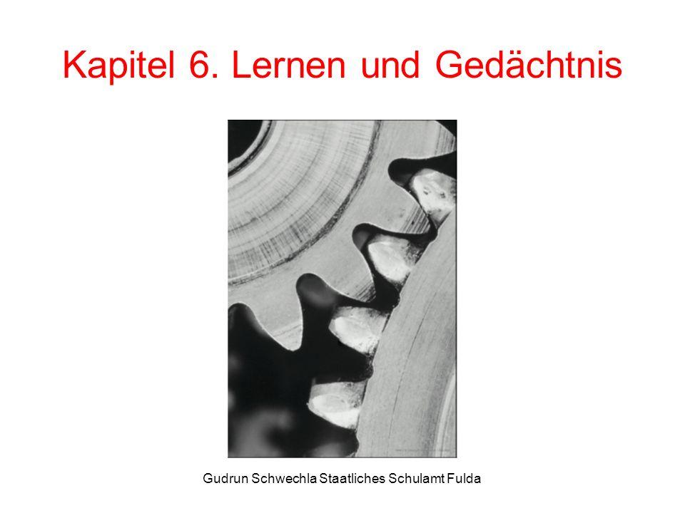 Gudrun Schwechla Staatliches Schulamt Fulda Kapitel 6. Lernen und Gedächtnis