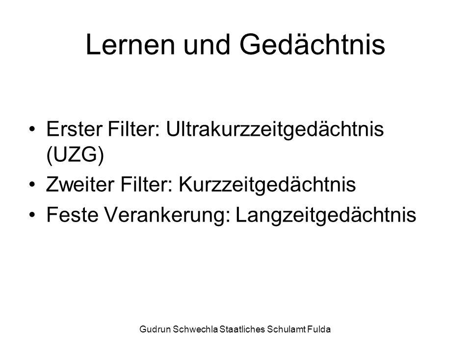 Gudrun Schwechla Staatliches Schulamt Fulda Lernen und Gedächtnis Erster Filter: Ultrakurzzeitgedächtnis (UZG) Zweiter Filter: Kurzzeitgedächtnis Feste Verankerung: Langzeitgedächtnis