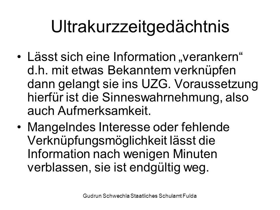 Gudrun Schwechla Staatliches Schulamt Fulda Ultrakurzzeitgedächtnis Lässt sich eine Information verankern d.h.