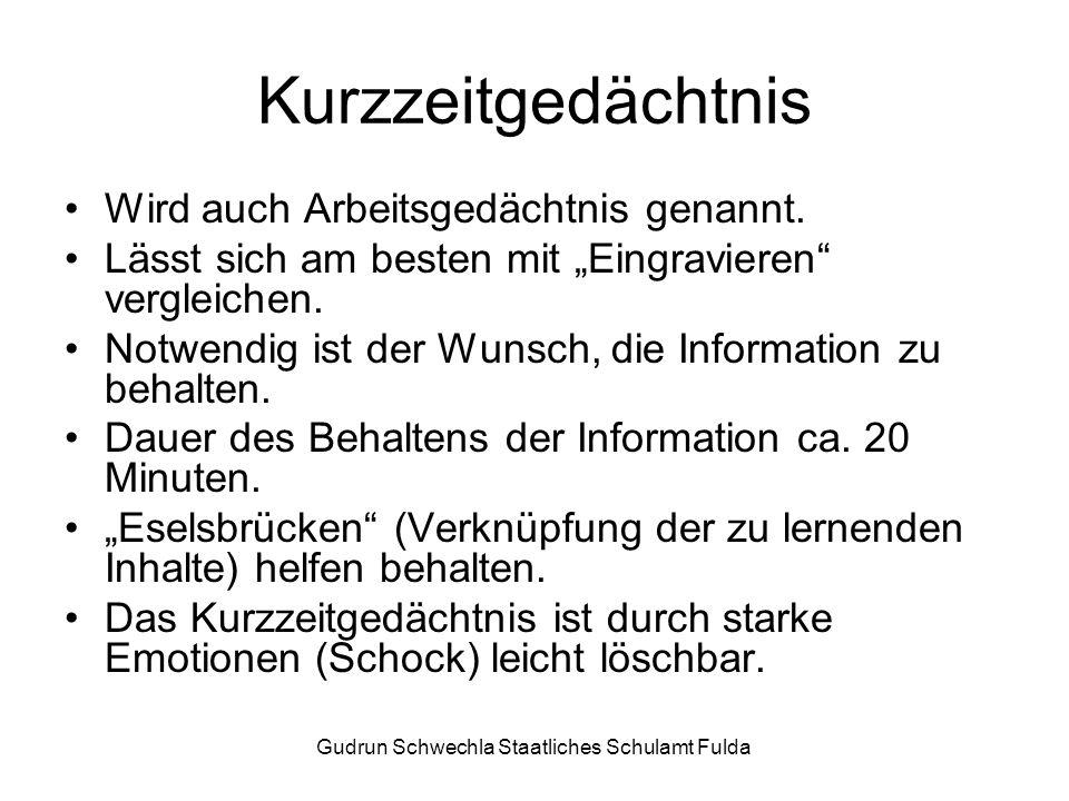Gudrun Schwechla Staatliches Schulamt Fulda Kurzzeitgedächtnis Wird auch Arbeitsgedächtnis genannt.