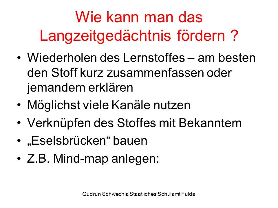 Gudrun Schwechla Staatliches Schulamt Fulda Wie kann man das Langzeitgedächtnis fördern .