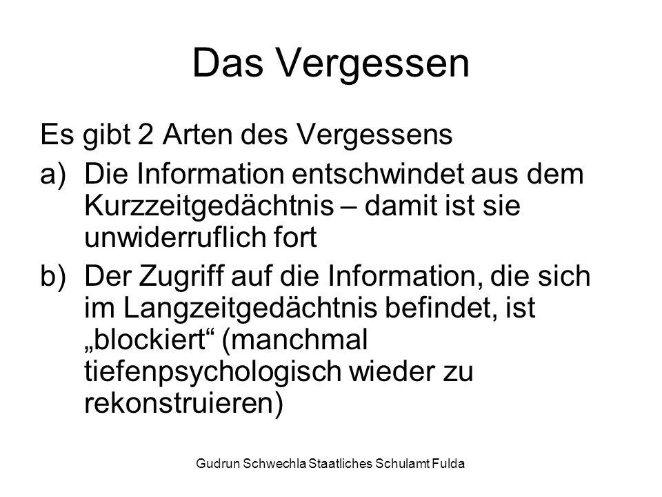 Das Vergessen Es gibt 2 Arten des Vergessens a)Die Information entschwindet aus dem Kurzzeitgedächtnis – damit ist sie unwiderruflich fort b)Der Zugriff auf die Information, die sich im Langzeitgedächtnis befindet, ist blockiert (manchmal tiefenpsychologisch wieder zu rekonstruieren)