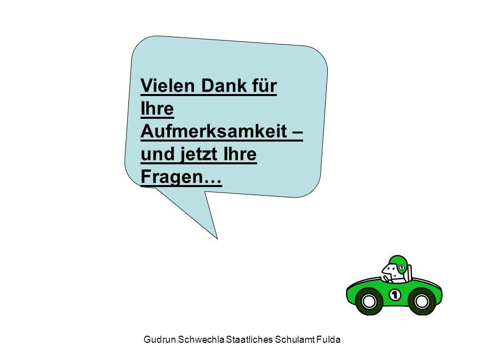 Gudrun Schwechla Staatliches Schulamt Fulda Vielen Dank für Ihre Aufmerksamkeit – und jetzt Ihre Fragen…