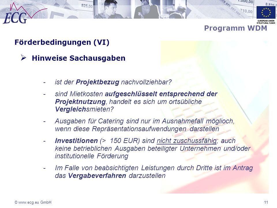 © www.ecg.eu GmbH11 Förderbedingungen (VI) Hinweise Sachausgaben -ist der Projektbezug nachvollziehbar? -sind Mietkosten aufgeschlüsselt entsprechend