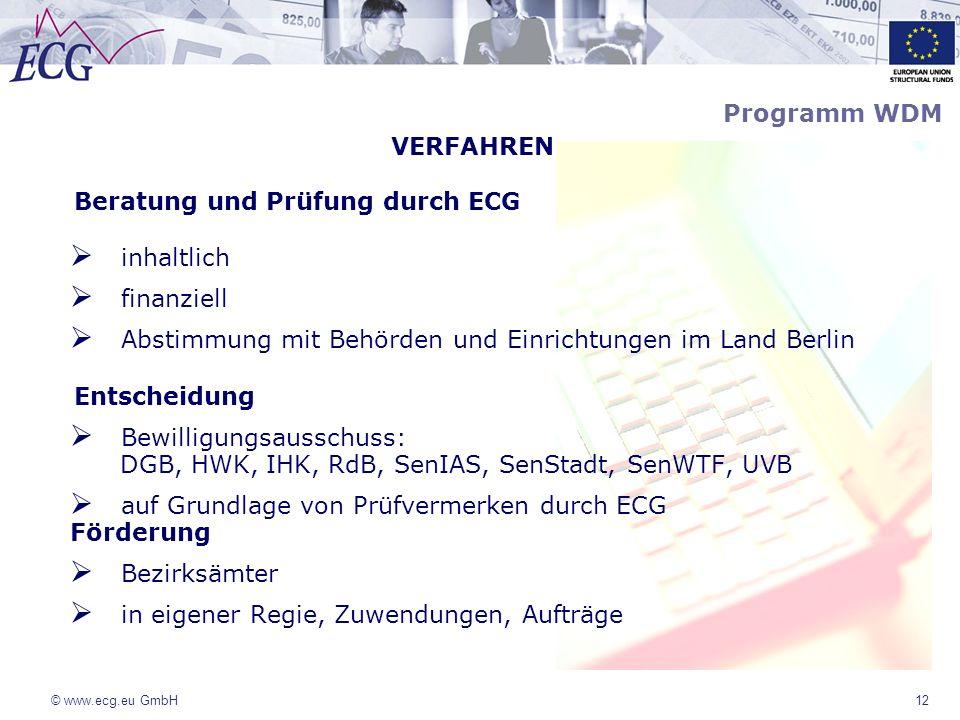 © www.ecg.eu GmbH12 VERFAHREN Beratung und Prüfung durch ECG inhaltlich finanziell Abstimmung mit Behörden und Einrichtungen im Land Berlin Entscheidu