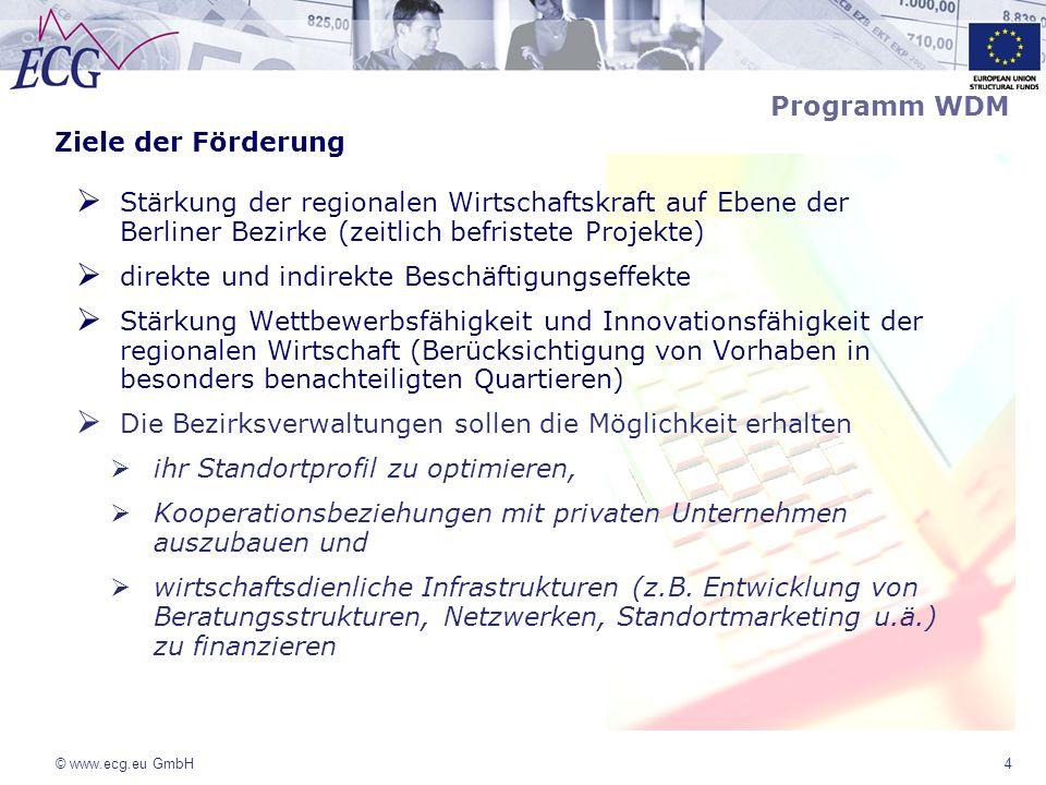 © www.ecg.eu GmbH4 Programm WDM Ziele der Förderung Stärkung der regionalen Wirtschaftskraft auf Ebene der Berliner Bezirke (zeitlich befristete Proje