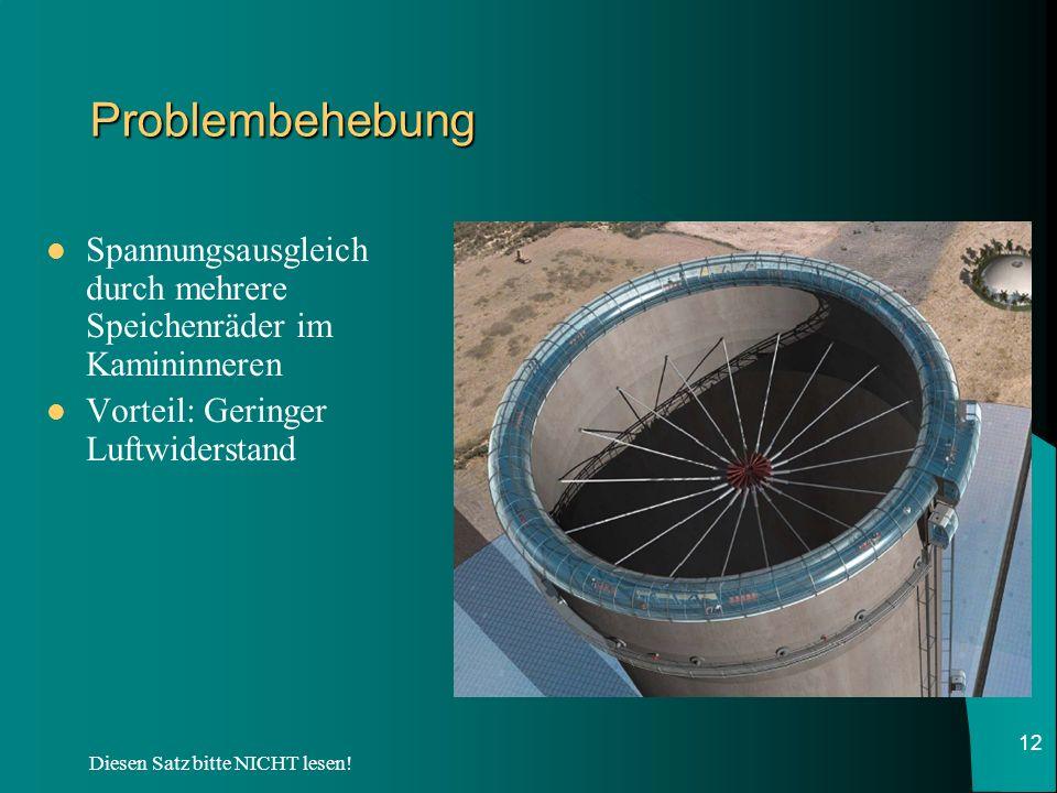 Diesen Satz bitte NICHT lesen! 12 Problembehebung Spannungsausgleich durch mehrere Speichenräder im Kamininneren Vorteil: Geringer Luftwiderstand