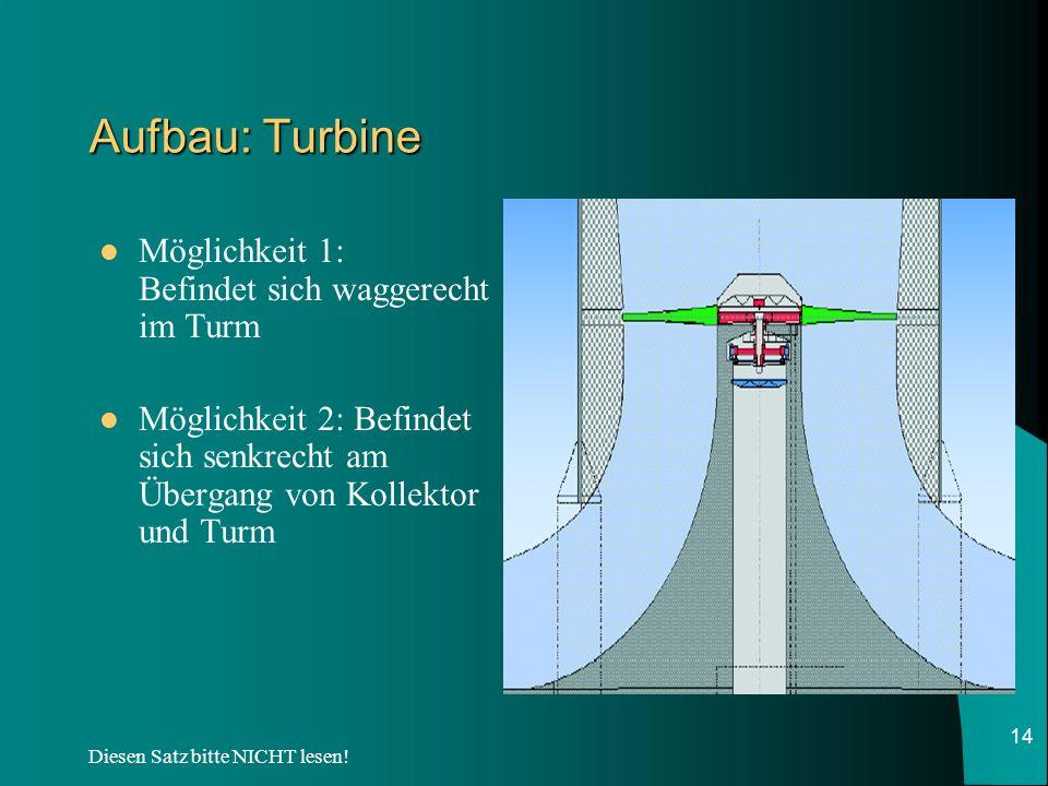 Diesen Satz bitte NICHT lesen! 14 Aufbau: Turbine Möglichkeit 1: Befindet sich waggerecht im Turm Möglichkeit 2: Befindet sich senkrecht am Übergang v
