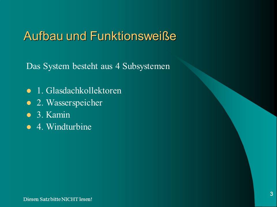 Diesen Satz bitte NICHT lesen! 3 Aufbau und Funktionsweiße Das System besteht aus 4 Subsystemen 1. Glasdachkollektoren 2. Wasserspeicher 3. Kamin 4. W