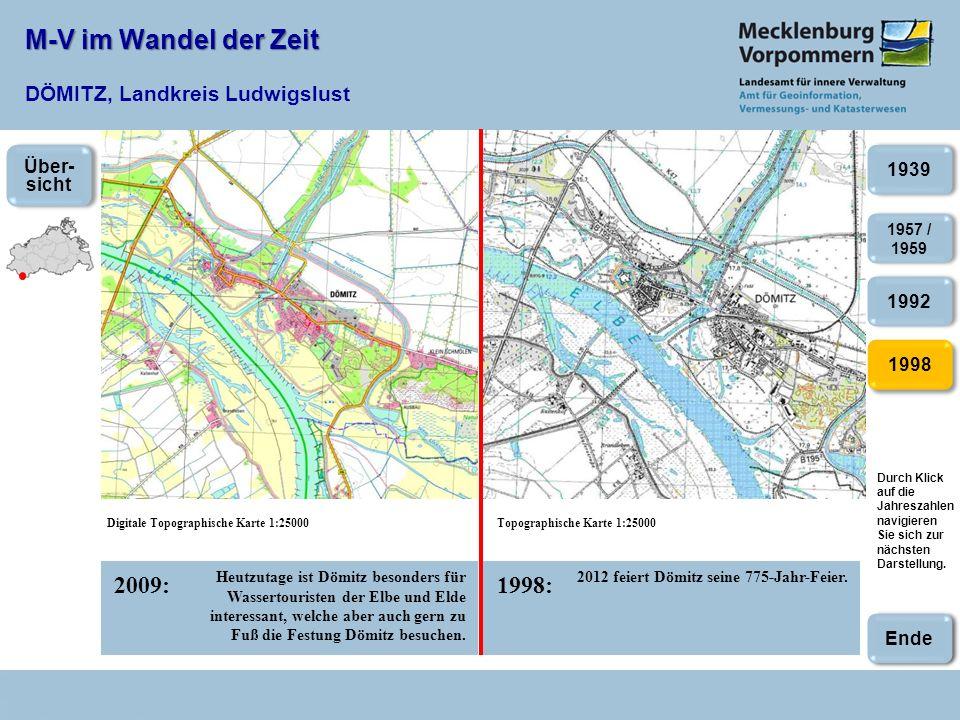 M-V im Wandel der Zeit M-V im Wandel der Zeit DÖMITZ, Landkreis Ludwigslust 2009:1998: Digitale Topographische Karte 1:25000Topographische Karte 1:250