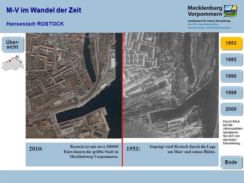 M-V im Wandel der Zeit M-V im Wandel der Zeit Hansestadt ROSTOCK 2010:1953: 2000 1985 1990 1999 1953 Rostock ist mit etwa 200000 Einwohnern die größte