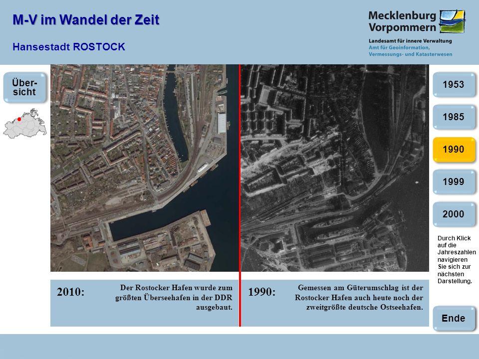 M-V im Wandel der Zeit M-V im Wandel der Zeit Hansestadt ROSTOCK 2010:1990: 1985 1990 1999 1953 2000 Der Rostocker Hafen wurde zum größten Überseehafe