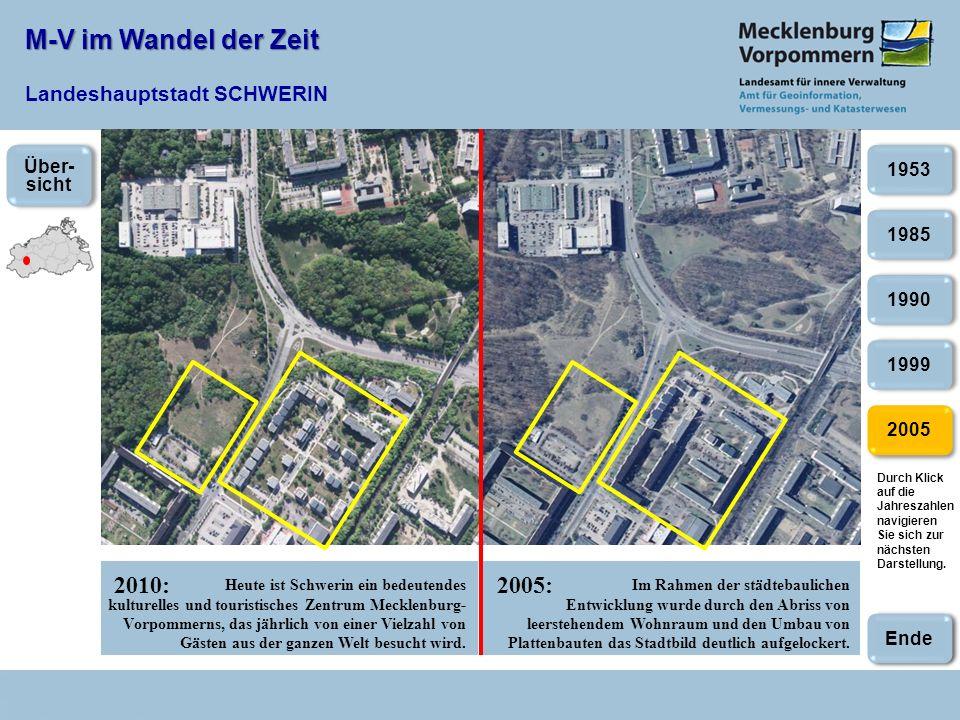M-V im Wandel der Zeit M-V im Wandel der Zeit Landeshauptstadt SCHWERIN 2010:2005: 2005 1985 1990 1999 1953 Heute ist Schwerin ein bedeutendes kulturelles und touristisches Zentrum Mecklenburg- Vorpommerns, das jährlich von einer Vielzahl von Gästen aus der ganzen Welt besucht wird.