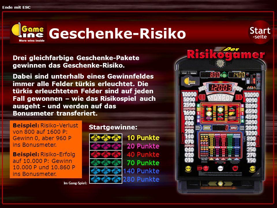 Ende mit ESC Risiko-Mystery-Bonus Drei Ausspielungen und jede Menge Mystery-Boni (zu jedem Zeitpunkt und auf jeder Risikostufe) bietet das Spiel der linken Risikoleiter.
