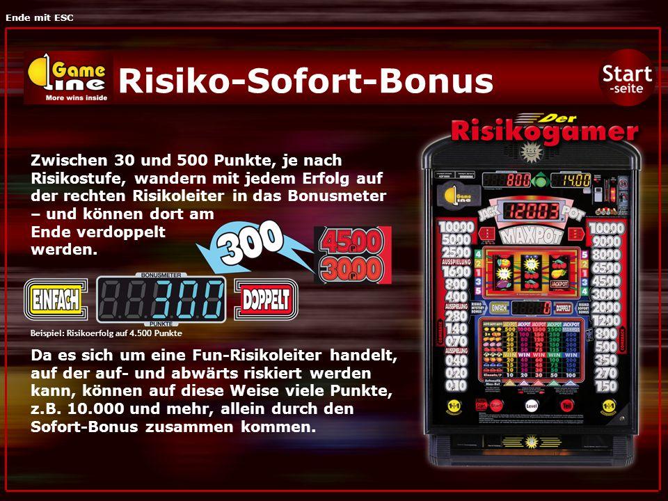 Ende mit ESC Risiko-Sofort-Bonus Zwischen 30 und 500 Punkte, je nach Risikostufe, wandern mit jedem Erfolg auf der rechten Risikoleiter in das Bonusmeter – und können dort am Ende verdoppelt werden.