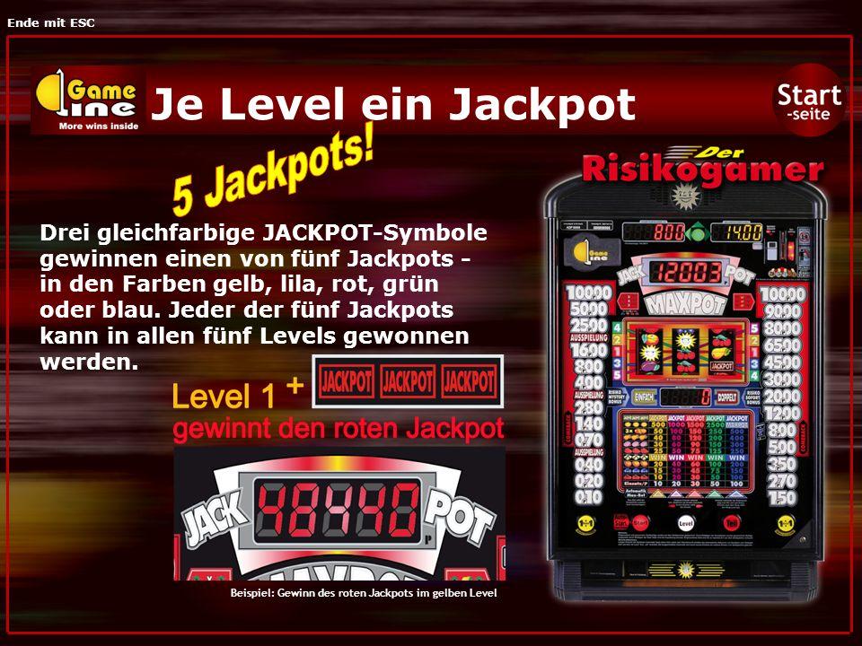 Ende mit ESC Je Level ein Jackpot Drei gleichfarbige JACKPOT-Symbole gewinnen einen von fünf Jackpots - in den Farben gelb, lila, rot, grün oder blau.