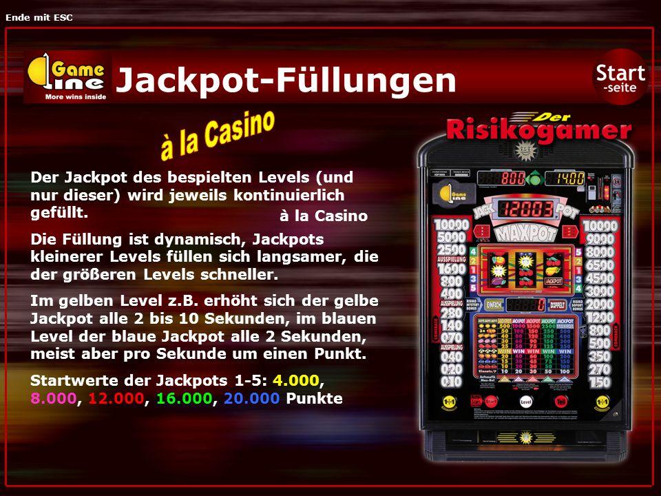 Ende mit ESC Jackpot-Füllungen Der Jackpot des bespielten Levels (und nur dieser) wird jeweils kontinuierlich gefüllt.