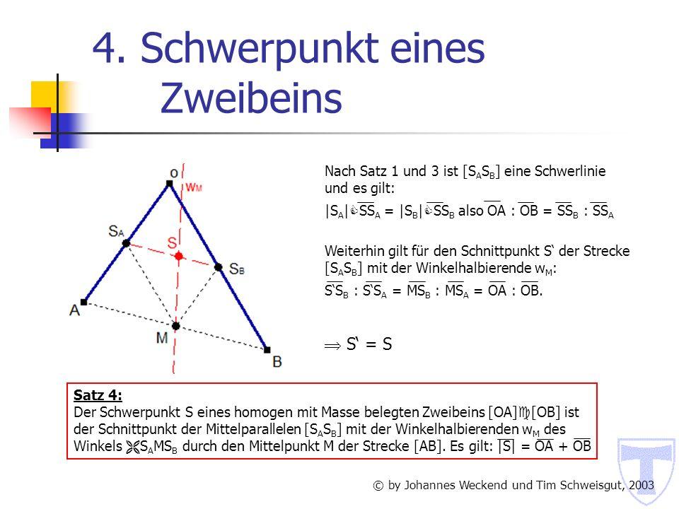 7.4 Schwerpunkt eines Tetraeders Flächenschwerpunkt F © by Johannes Weckend und Tim Schweisgut, 2003 Im Tetraeder seien A 1, B 1, C 1, D 1 die Schwerpunkte der den Punkten A,B,C,D gegenüberliegenden Seitenflächen.