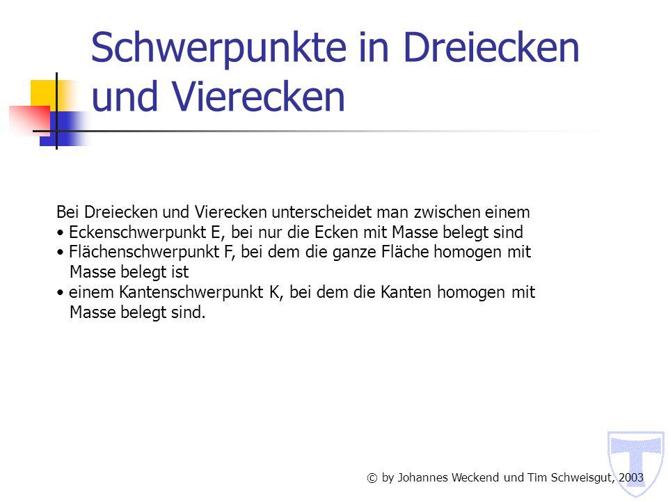 5.1 Schwerpunkt eines Dreiecks Eckenschwerpunkt E © by Johannes Weckend und Tim Schweisgut, 2003 Gegeben sei ein Dreieck, bei dem alle Ecken A, B, C mit der Masse 1 belegt sind.