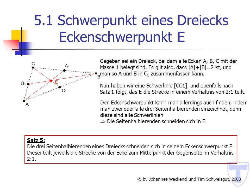 7.4 Schwerpunkt eines Tetraeders Flächenschwerpunkt F © by Johannes Weckend und Tim Schweisgut, 2003 Zuerst zerlegt man das Tetraeder in das Dreiflach [DAB] [DBC] [DCA] und das Dreieck ABC, man erhält deren Schwerpunkte F D bzw.