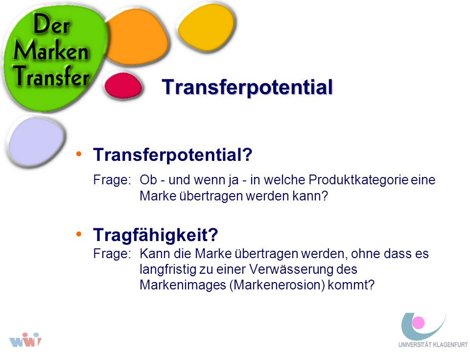 Transferpotential Transferpotential? Frage: Ob - und wenn ja - in welche Produktkategorie eine Marke übertragen werden kann? Tragfähigkeit? Frage:Kann
