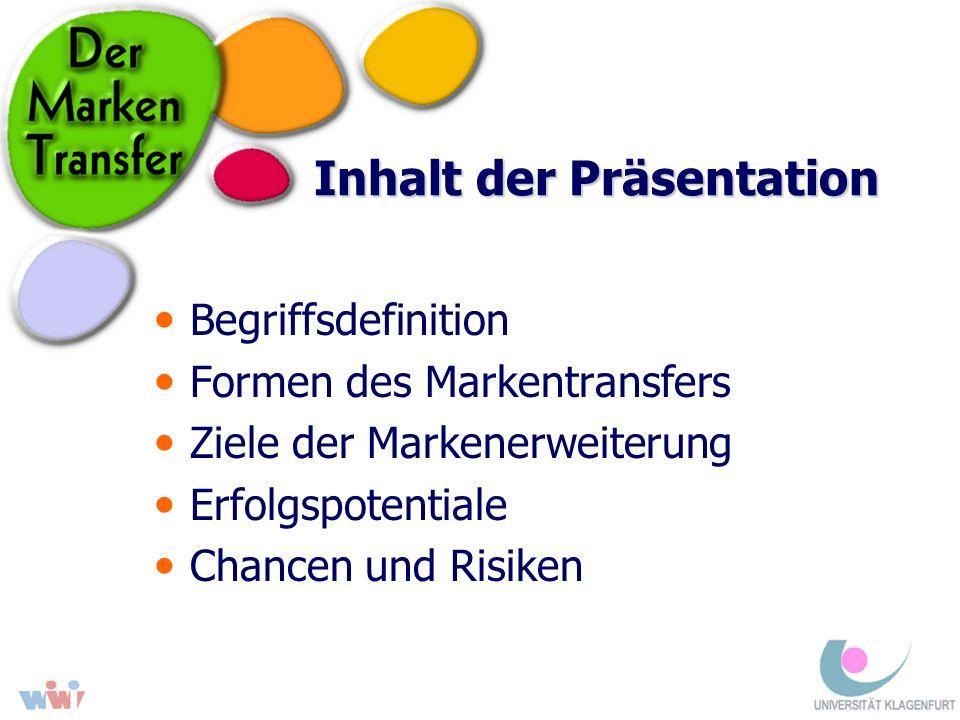 Inhalt der Präsentation Begriffsdefinition Formen des Markentransfers Ziele der Markenerweiterung Erfolgspotentiale Chancen und Risiken