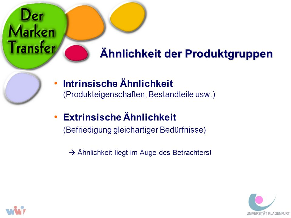 Ähnlichkeit der Produktgruppen Intrinsische Ähnlichkeit (Produkteigenschaften, Bestandteile usw.) Extrinsische Ähnlichkeit (Befriedigung gleichartiger