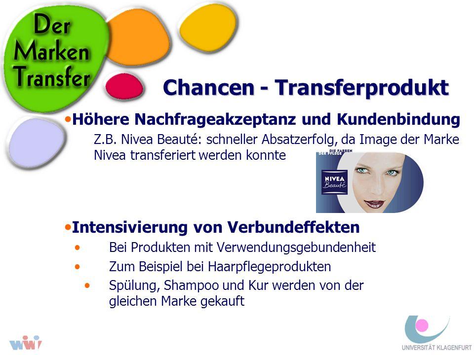 Chancen - Transferprodukt Höhere Nachfrageakzeptanz und Kundenbindung Z.B. Nivea Beauté: schneller Absatzerfolg, da Image der Marke Nivea transferiert