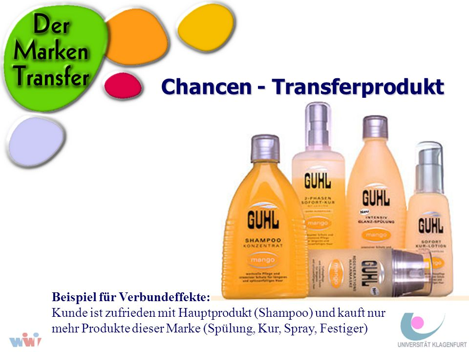 Chancen - Transferprodukt Beispiel für Verbundeffekte: Kunde ist zufrieden mit Hauptprodukt (Shampoo) und kauft nur mehr Produkte dieser Marke (Spülun