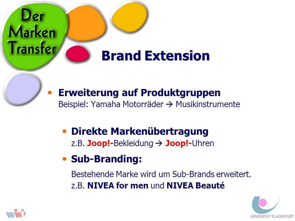 Brand Extension Erweiterung auf Produktgruppen Beispiel: Yamaha Motorräder Musikinstrumente Direkte Markenübertragung z.B. Joop!-Bekleidung Joop!-Uhre