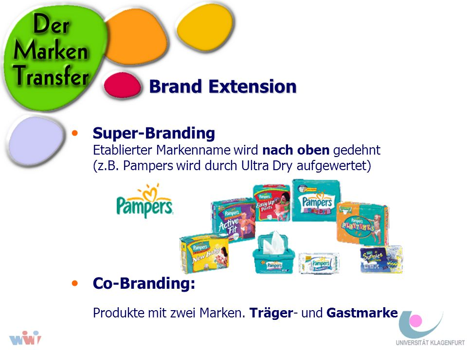 Brand Extension Super-Branding Etablierter Markenname wird nach oben gedehnt (z.B. Pampers wird durch Ultra Dry aufgewertet) Co-Branding: Produkte mit