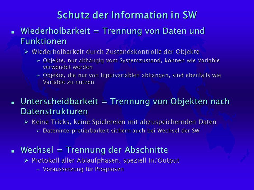 Schutz der Information in SW n Wiederholbarkeit = Trennung von Daten und Funktionen ØWiederholbarkeit durch Zustandskontrolle der Objekte F Objekte, nur abhängig vom Systemzustand, können wie Variable verwendet werden F Objekte, die nur von Inputvariablen abhängen, sind ebenfalls wie Variable zu nutzen n Unterscheidbarkeit = Trennung von Objekten nach Datenstrukturen ØKeine Tricks, keine Spielereien mit abzuspeichernden Daten F Dateninterpretierbarkeit sichern auch bei Wechsel der SW n Wechsel = Trennung der Abschnitte ØProtokoll aller Ablaufphasen, speziell In/Output F Voraussetzung für Prognosen